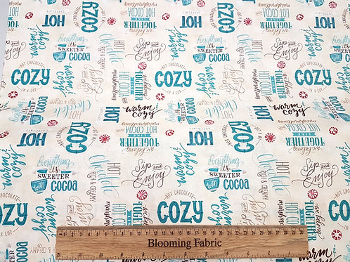 Cocoa fabric, Cotton fabric, love hot drink 100% cotton fabric