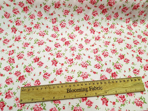 Roses flowers on pink fabric, Vintage Flower print cotton, 100% cotton print