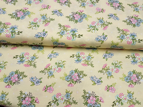 Yellow floral fabric, Flowers print, 100% cotton print