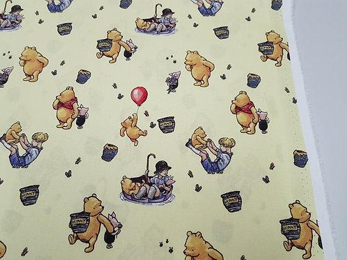 Pooh adventure 100% Cotton woven (Background is darker yellow)