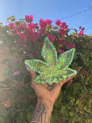 Green leaf glittered ashtray