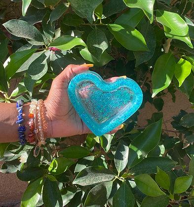 Iridescent blue ashtray