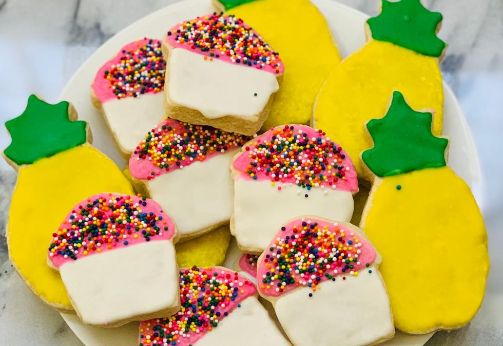 Cupcake and Pineapple Sugar Cookies