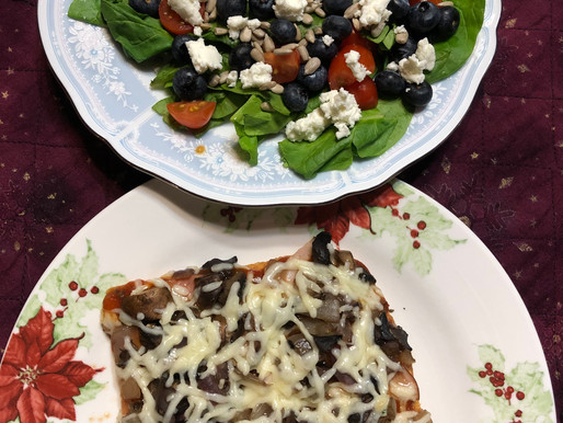 Pizza and delicious salad