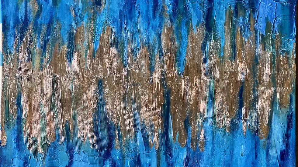 Abstract textured with gold leaf work
