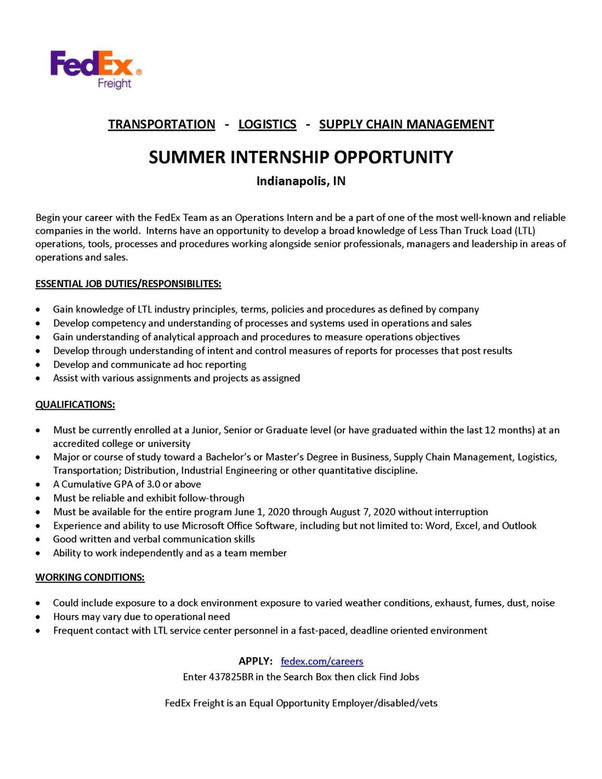 FedEx Internship Opportunity 2020
