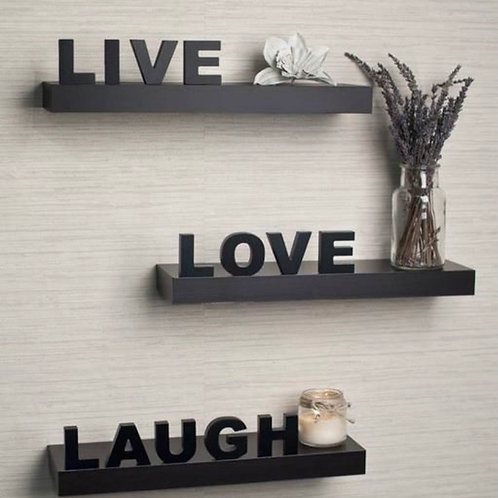 Brown coloured wall shelve- LIVE LOVE & LAUGH