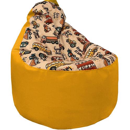 """Кресло Мега """"Машинки"""" желтое"""