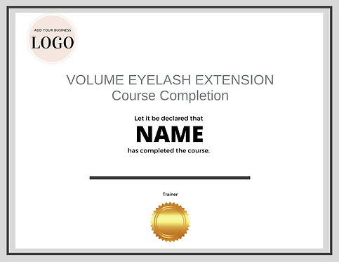 Volume Lash Extension Completion Certificate (Downloadable Template)