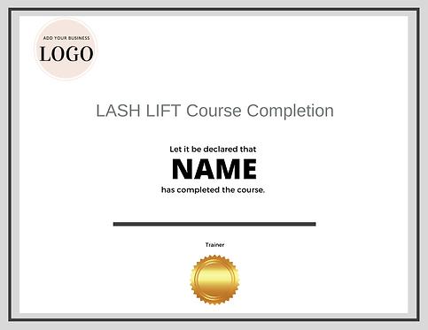 Lash Lift Completion Certificate (Downloadable Template)