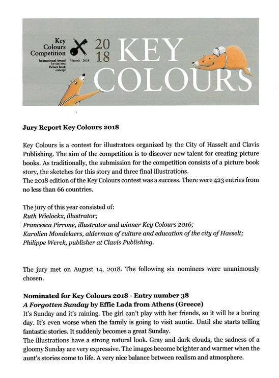 Key Colours - illustrator's award 2018.