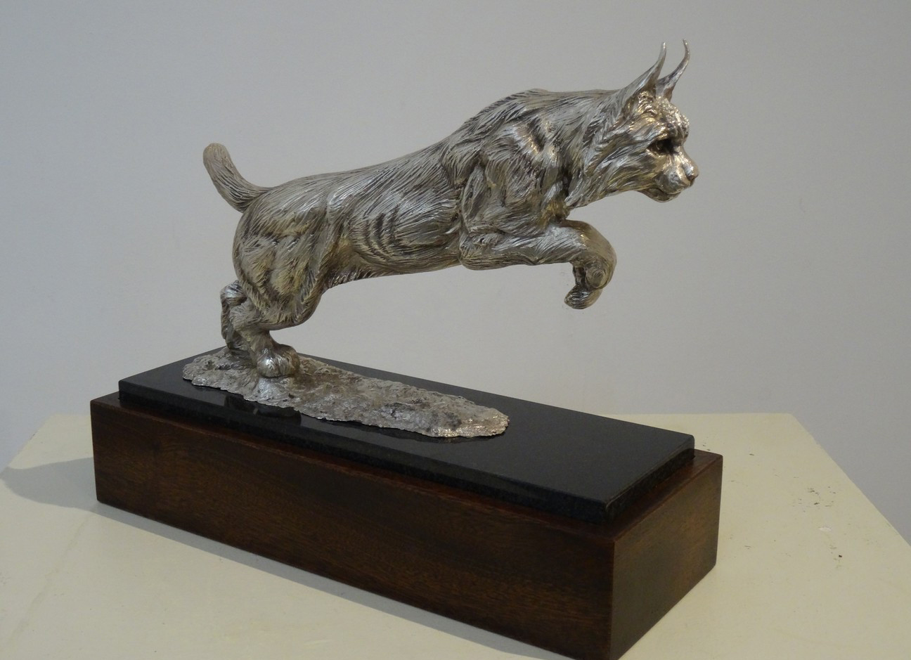 Eurasian Lynx silver sculpture