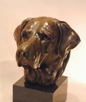 Labrador retriever bronze sculpture
