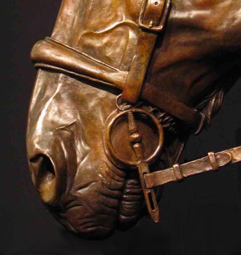 Hunter horse bronze sculpture