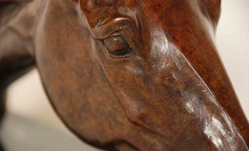 Thoroughbred horse bronze sculpture