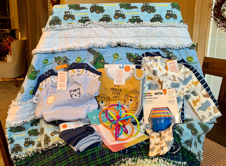 Item #24:  Handmade John Deere baby quilt, clothes, & toys, photo session with Redlight photography
