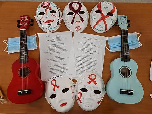 Ukeles and red ribbon masks.jpg