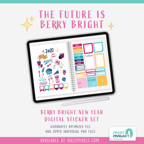 Berry Bright New Year Digital Planner Sticker Set