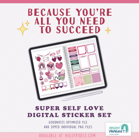 Super Self Love Digital Planner Sticker Set