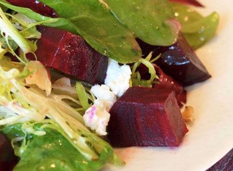 Mixed Spring Greens with Beets, Goat Cheese and Nuts