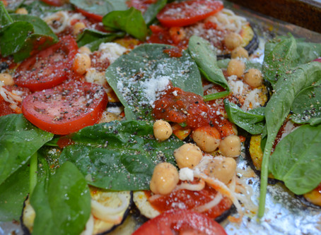 Eggplant Parmesan with Spinach, Chickpeas and Turmeric