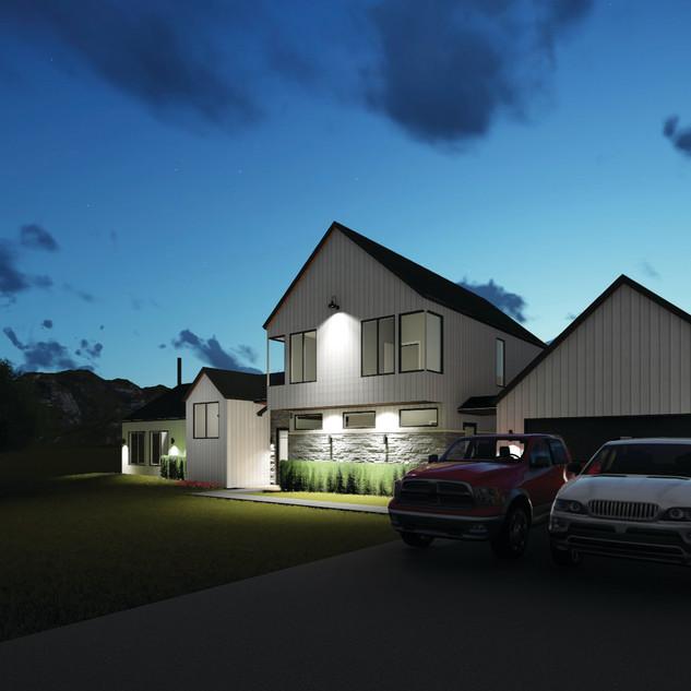 centilever farmhouse front right night.j
