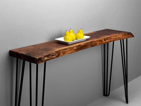 LIVE EDGE WALNUT CONSOLE TABLE