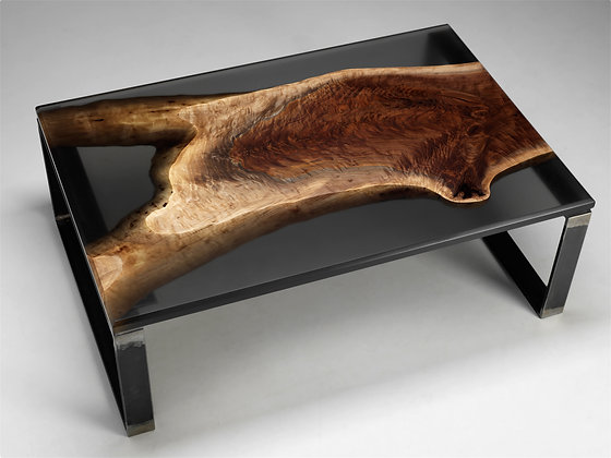 BLACK WALNUT RESIN CAST COFFEE TABLE