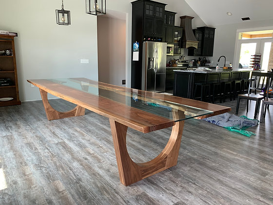 Walnut Glass River Dining Table 177
