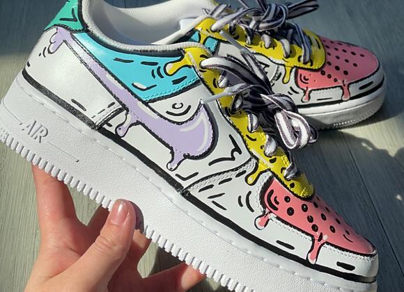 Custom Pastel Drip Cartoon Nike Air Force 1's
