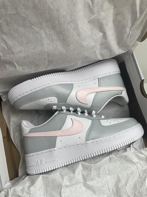 Custom Pink and Grey Nike Air Force 1