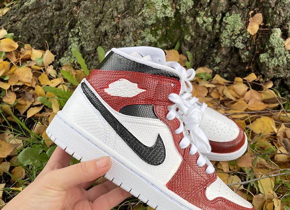 Custom Red Velvet Nike Jordan 1 Mid's