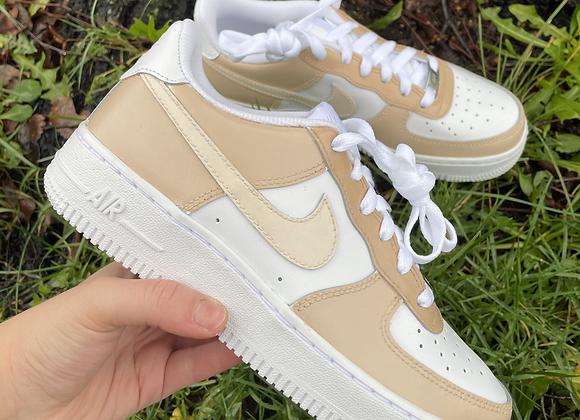 Custom Tan Colour Block Nike Air Force 1's