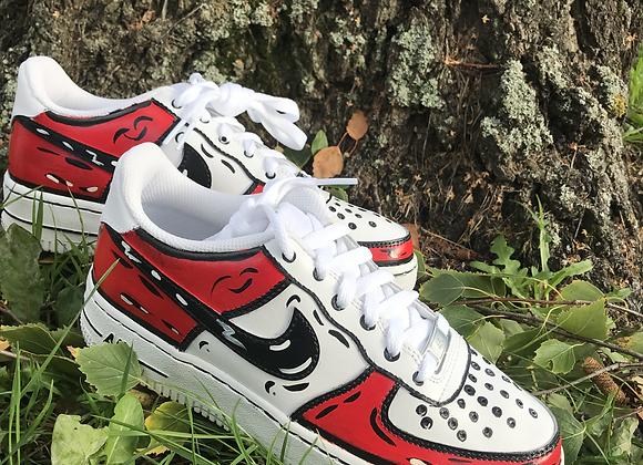 Custom Red Cartoon Nike Air Force 1's