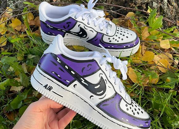 Custom Purple Cartoon Nike Air Force 1's