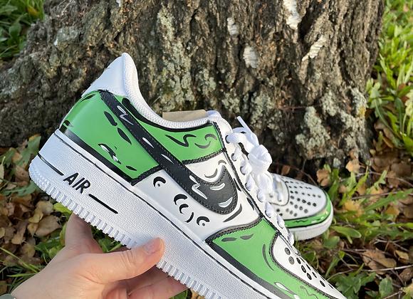 Custom Green Cartoon Nike Air Force 1's