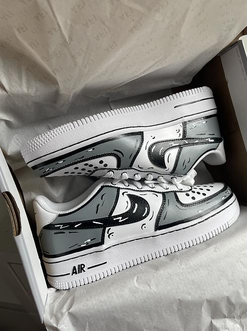 Custom Grey Cartoon Nike Air Force 1