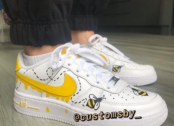 Custom Bee Drip Nike Air Force 1's