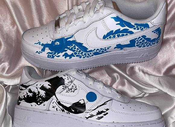 Custom Dragon and Mountain Nike Air Force 1
