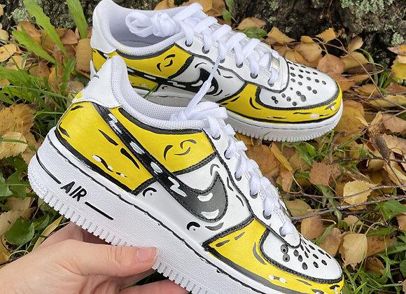 Custom Yellow Cartoon Nike Air Force 1's
