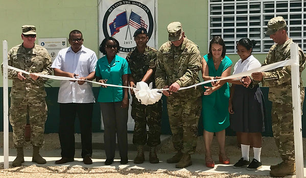 BROOKE RAMOS / GLOBAL AID CONSULTANTS The ribbon-cutting ceremony held Tuesday at St. Matthew's Government School included special guests from the U.S. Embassy in Belize, Belize Ministry of Education, Beyond the Horizon, Council members from St. Matthew's Village, and staff and students from St. Matthew's Government School.