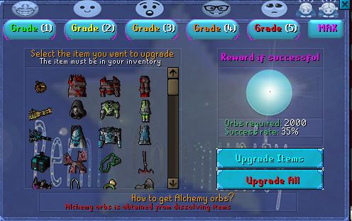 Alchemy Upgrade Interface