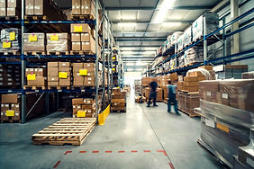 warehouse interior with shelves, pallets
