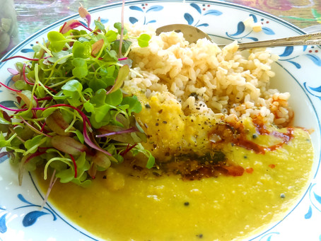 Dal curry with microgreen salad