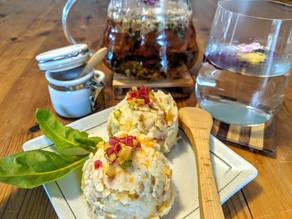 Rainbow Chard mashed Potato Salad with Rose Petal Tea 🌈🍹