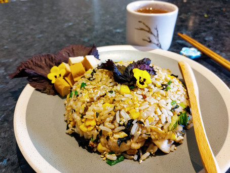 RED SHISO FRIED RICE with ROSE TEA 🍵