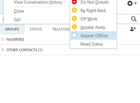 Appear Offline in Skype for Business (Oct-2017 Update)