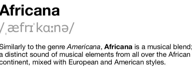 World Music? No, Africana!