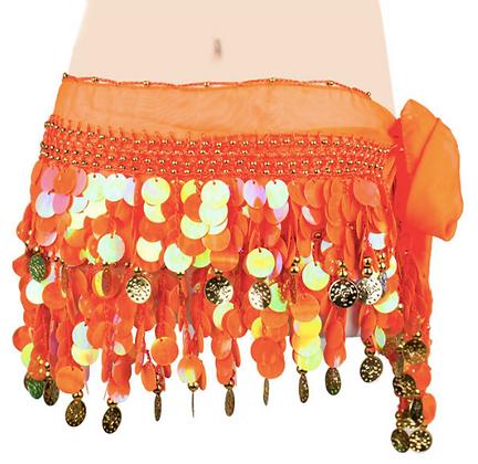 Fajilla de lentejuelones y monedas Naranja