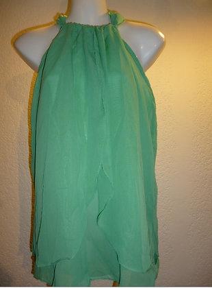 Blusa Chiffon Verde Cuello Alto Talla M-L
